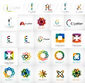 Set of universal company logos and design elements - letters, waves, swirls and concepts