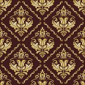 Golden Pattern in the Style of Baroque. Abstract Vector Background