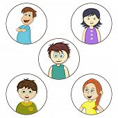 Cartoons of cute happy little boys and girls on white background.