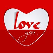 Stylish text Love You in a heart on red background for Happy Valentines Day celebration.