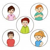 Set of cute little cartoon characters in different poses on white background.