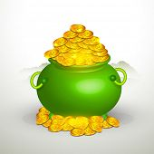 Glossy green pot full of gold coins on grey background for Happy St. Patrick's Day celebration.