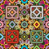 Vector seamless abstract kaleidoscope symmetric pattern in nature colors with random coloring