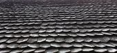 stock photo of shingles  - Old wooden shingle roof. Wooden surface texture.