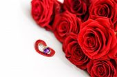Red Roses And A Ring In A Heart