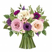 Постер, плакат: Bouquet of colorful roses and lisianthus flowers Vector illustration