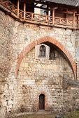 stock photo of arsenal  - Brick wall of medieval Royal Arsenal in Lviv - JPG