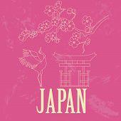Japan landmarks. Retro styled image