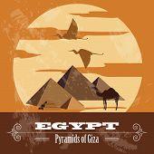 Egypt  landmarks. Retro styled image