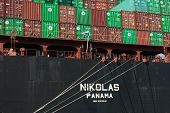 Nikolas cargo ship, being loaded with containers at the port of Haifa Israel