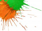 Abstract Orange-green Watercolor Drops