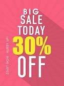 Big Sale flyer, banner or template with 30% discount offer.