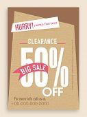 Clearance sale flyer, template or banner design.