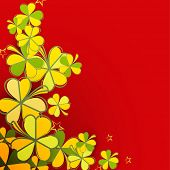 Beautiful greeting card design with shamrock leaves on red background for Happy St. Patrick's Day celebration.