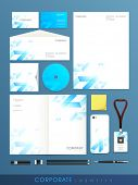 Stylish  set of corporate identity for your business purpose on blue background.