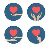 hand with heart flat icon design