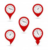 pin map marker with clock icon design