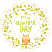 picture of owls  - amazing card with cartoon beautiful and funny owl with place for text in floral wreath - JPG