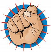 Vintage Pop Art Punching Fist Sign.