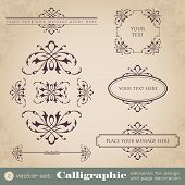 Calligraphic elements for design and page decoration - set 2