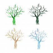 Set of Watercolor vector trees icons