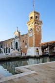 image of arsenal  - clock tower and the main entrance in Venetian Arsenal - JPG