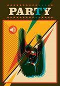 Retro party poster design in color. Vector illustration.