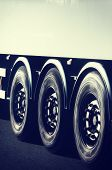 Truck Wheels Closeup In Motion
