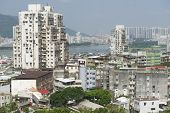 Macau residential area buildings exterior Macau, China.