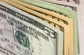 A closeup shot of some dollar bills