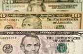 A closeup shot of various dollar bills