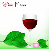 Abstract White Background With Green Leaves And Glass Of Red Wine