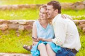 foto of sweetheart  - Portrait of Two Caucasian Sweethearts Together Outdoors - JPG