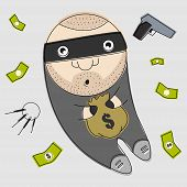Funny thief illustration