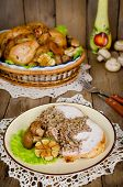Portion Of Chicken Stuffed With Buckwheat With Mushrooms