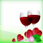 Greeting Card With Glasses Of Red Wine On Valentine's Day. February 14 - Day For All Lovers