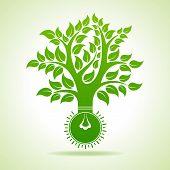 Bulb make Abstract Tree Design - vector illustration
