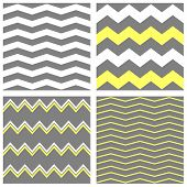 Tile chevron vector pattern set with grey and yellow zig zag background