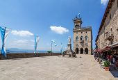 San Marino. San Marino Republic. Liberty Square, In Front Of The Government Palace
