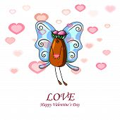 Valentine Card With A Fly