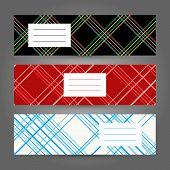 Set of Horizontal Tartan Banners. Abstract Geometric ornament. Vector Illustration.