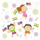 illustration of kid with flag India-America relationship