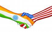 illustration of handshake showing India-America relationship