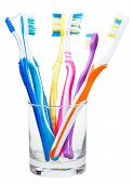 Toothbrushes And Interdental Brush In Clear Glass