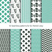 Set of 10 seamless patterns for St. Patrick's day