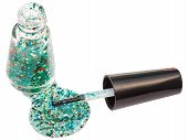 Bottle With Spilled Glitter Nail Polish Isolated