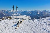 Mountains skis and ski-sticks - St. Gilgen Austria - nature and sport background