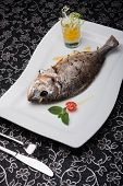 Grilled Whole Dorado Fish On The White Plate