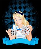 stock photo of alice wonderland  - Alice pours a cup of tea from the kettle - JPG