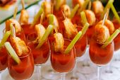 Catering - Snack Coctails With Tomato Juice And Shrimps. Closeup